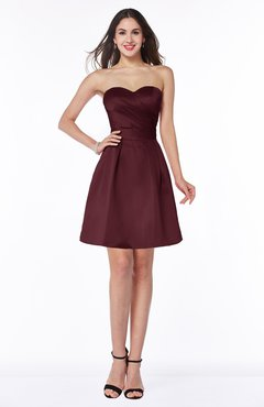 ColsBM Prudence Burgundy Classic A-line Half Backless Knee Length Ruching Little Black Dresses