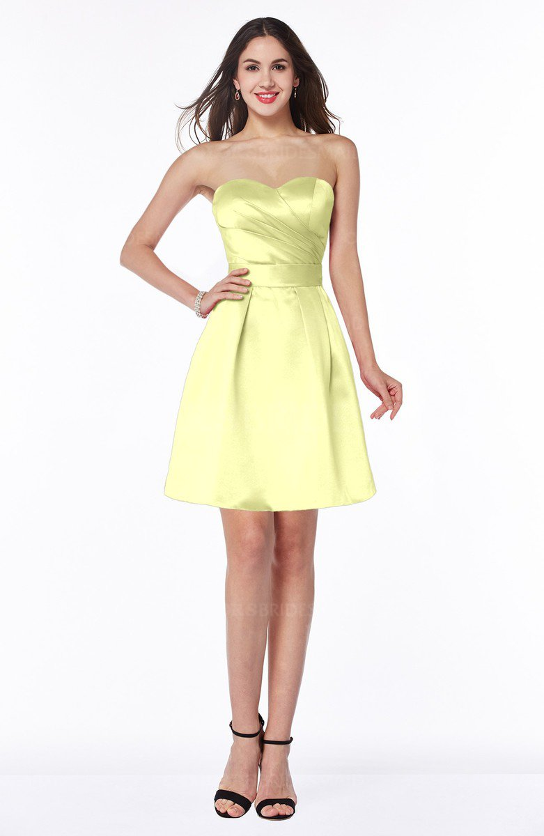 Colsbm Prudence Wax Yellow Clic A Line Half Backless Knee Length Ruching Little Black Dresses