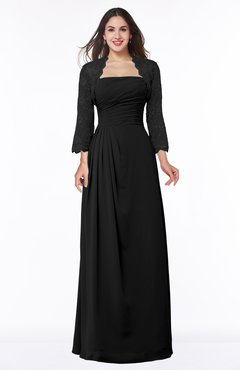 ColsBM Camila Black Modest Strapless Zip up Floor Length Lace Mother of the Bride Dresses