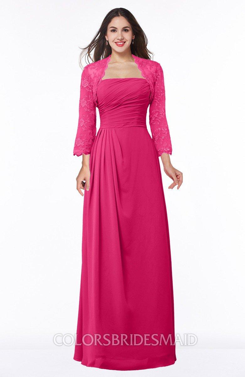 9d4a706295b ColsBM Camila Fuschia Modest Strapless Zip up Floor Length Lace Mother of  the Bride Dresses