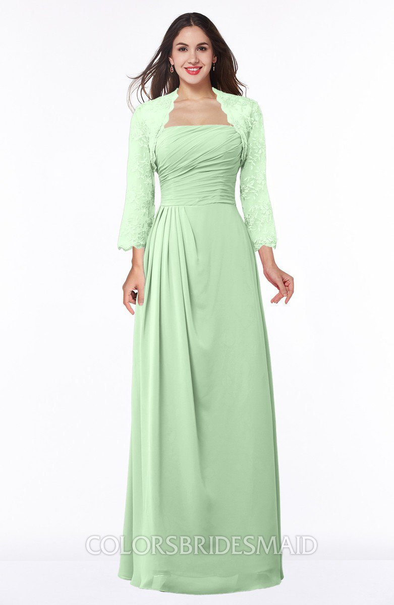 cbdb3a0ddd ColsBM Camila Light Green Modest Strapless Zip up Floor Length Lace Mother  of the Bride Dresses