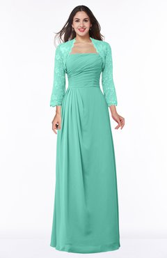 ColsBM Camila Mint Green Modest Strapless Zip up Floor Length Lace Mother of the Bride Dresses
