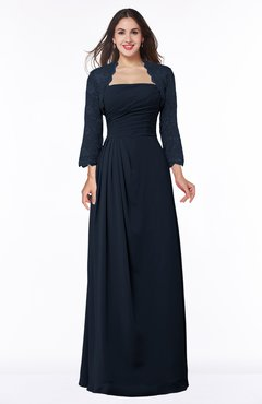 ColsBM Camila Navy Blue Modest Strapless Zip up Floor Length Lace Mother of the Bride Dresses