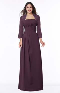 ColsBM Camila Plum Modest Strapless Zip up Floor Length Lace Mother of the Bride Dresses