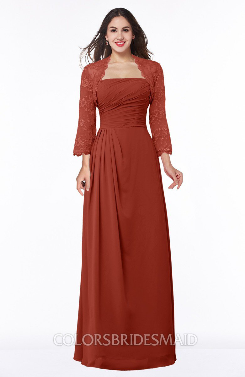 bd0ce3b1005 ColsBM Camila Rust Modest Strapless Zip up Floor Length Lace Mother of the Bride  Dresses