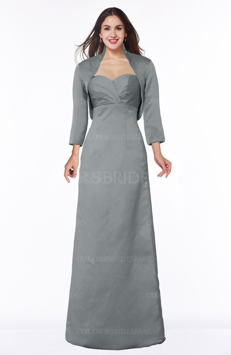2132663b5be ColsBM Erica Frost Grey Traditional Criss-cross Straps Satin Floor Length Pick  up Mother of