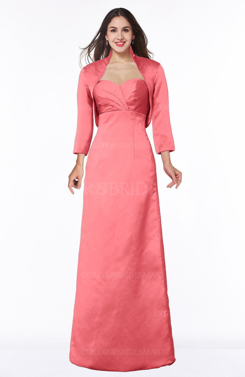 66ff85e443 ColsBM Erica Hot Coral Traditional Criss-cross Straps Satin Floor Length  Pick up Mother of