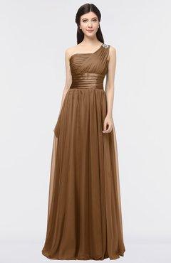 ColsBM Lyra Brown Mature Asymmetric Neckline Zip up Floor Length Appliques Bridesmaid Dresses