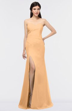 ColsBM Claudia Apricot Mature Sheath Strapless Sleeveless Floor Length Ruching Bridesmaid Dresses