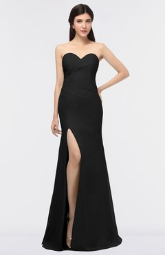ColsBM Claudia Black Mature Sheath Strapless Sleeveless Floor Length Ruching Bridesmaid Dresses