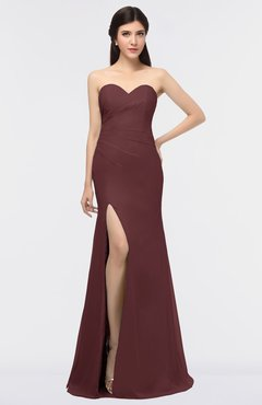 ColsBM Claudia Burgundy Mature Sheath Strapless Sleeveless Floor Length Ruching Bridesmaid Dresses