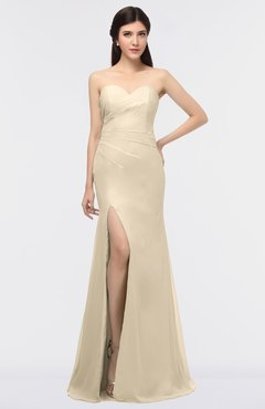 ColsBM Claudia Champagne Mature Sheath Strapless Sleeveless Floor Length Ruching Bridesmaid Dresses