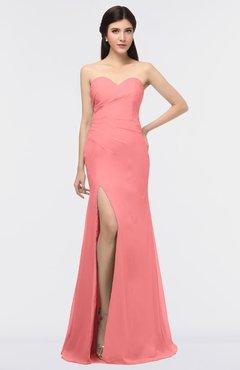 ColsBM Claudia Coral Mature Sheath Strapless Sleeveless Floor Length Ruching Bridesmaid Dresses