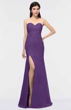 ColsBM Claudia Dark Purple Mature Sheath Strapless Sleeveless Floor Length Ruching Bridesmaid Dresses