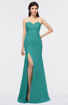 ColsBM Claudia Emerald Green Mature Sheath Strapless Sleeveless Floor Length Ruching Bridesmaid Dresses