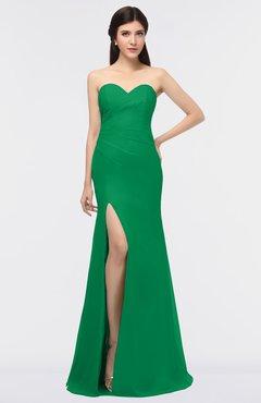 ColsBM Claudia Green Mature Sheath Strapless Sleeveless Floor Length Ruching Bridesmaid Dresses