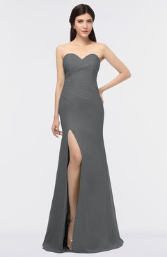 ColsBM Claudia Grey Mature Sheath Strapless Sleeveless Floor Length Ruching Bridesmaid Dresses