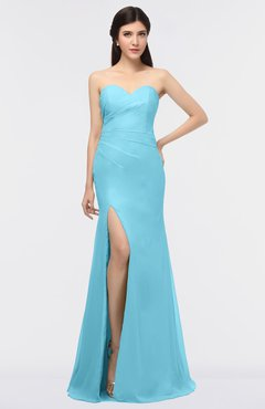 ColsBM Claudia Light Blue Mature Sheath Strapless Sleeveless Floor Length Ruching Bridesmaid Dresses