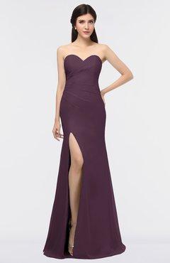ColsBM Claudia Plum Mature Sheath Strapless Sleeveless Floor Length Ruching Bridesmaid Dresses