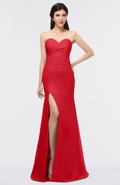 ColsBM Claudia Red Mature Sheath Strapless Sleeveless Floor Length Ruching Bridesmaid Dresses