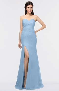 ColsBM Claudia Sky Blue Mature Sheath Strapless Sleeveless Floor Length Ruching Bridesmaid Dresses