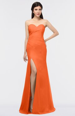 ColsBM Claudia Tangerine Mature Sheath Strapless Sleeveless Floor Length Ruching Bridesmaid Dresses