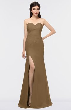 ColsBM Claudia Truffle Mature Sheath Strapless Sleeveless Floor Length Ruching Bridesmaid Dresses