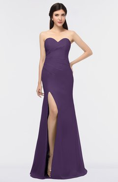 ColsBM Claudia Violet Mature Sheath Strapless Sleeveless Floor Length Ruching Bridesmaid Dresses