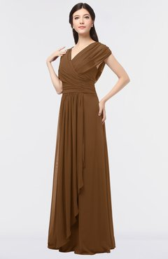 ColsBM Cecilia Brown Modern A-line Short Sleeve Zip up Floor Length Ruching Bridesmaid Dresses