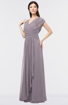 ColsBM Cecilia Cameo Modern A-line Short Sleeve Zip up Floor Length Ruching Bridesmaid Dresses