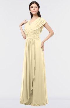 ColsBM Cecilia Cornhusk Modern A-line Short Sleeve Zip up Floor Length Ruching Bridesmaid Dresses
