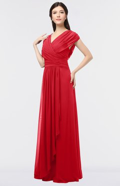 ColsBM Cecilia Red Modern A-line Short Sleeve Zip up Floor Length Ruching Bridesmaid Dresses