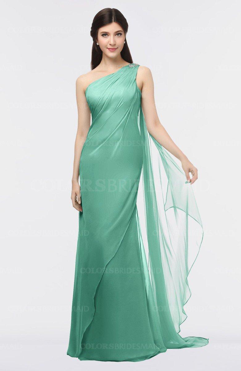 1dbd474447b ColsBM Helena Beryl Green Elegant Asymmetric Neckline Sleeveless Zip up  Floor Length Bridesmaid Dresses