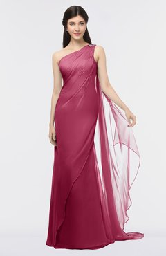 ColsBM Helena Burgundy Elegant Asymmetric Neckline Sleeveless Zip up Floor Length Bridesmaid Dresses