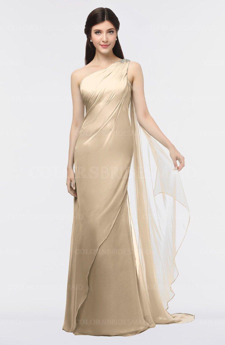 bbb25e41cd2 ColsBM Helena Champagne Elegant Asymmetric Neckline Sleeveless Zip up Floor  Length Bridesmaid Dresses