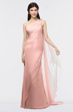 ColsBM Helena Coral Almond Elegant Asymmetric Neckline Sleeveless Zip up Floor Length Bridesmaid Dresses