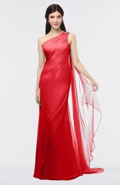 ColsBM Helena Flame Scarlet Elegant Asymmetric Neckline Sleeveless Zip up Floor Length Bridesmaid Dresses