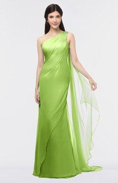 ColsBM Helena Greenery Elegant Asymmetric Neckline Sleeveless Zip up Floor Length Bridesmaid Dresses