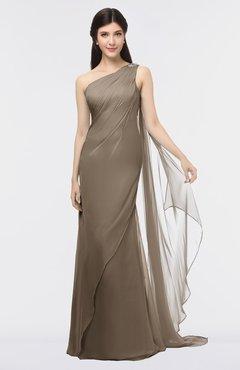 ColsBM Helena Latte Elegant Asymmetric Neckline Sleeveless Zip up Floor Length Bridesmaid Dresses