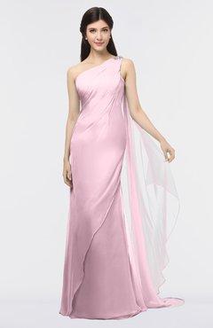 ColsBM Helena Mist Pink Elegant Asymmetric Neckline Sleeveless Zip up Floor Length Bridesmaid Dresses