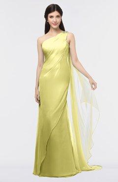 Colsbm Helena Muted Lime Elegant Asymmetric Neckline Sleeveless Zip Up Floor Length Bridesmaid Dresses