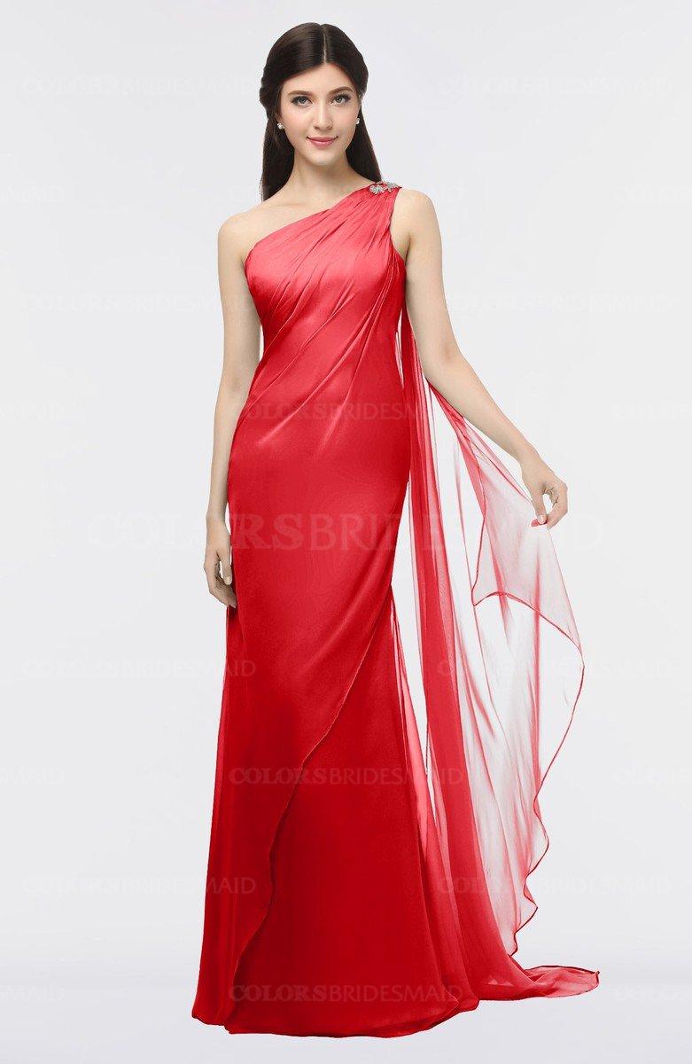 c3f489eafcc0e ColsBM Helena Red Elegant Asymmetric Neckline Sleeveless Zip up Floor  Length Bridesmaid Dresses