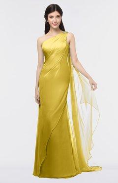 ColsBM Helena Sauterne Elegant Asymmetric Neckline Sleeveless Zip up Floor Length Bridesmaid Dresses