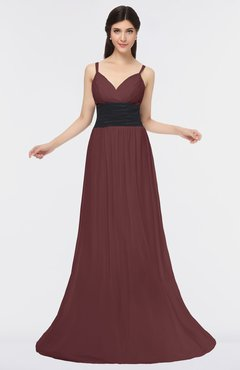 ColsBM Piper Burgundy Plain A-line Spaghetti Zip up Floor Length Bow Bridesmaid Dresses