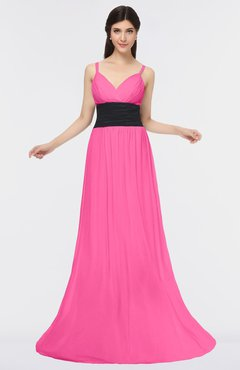 ColsBM Piper Rose Pink Plain A-line Spaghetti Zip up Floor Length Bow Bridesmaid Dresses
