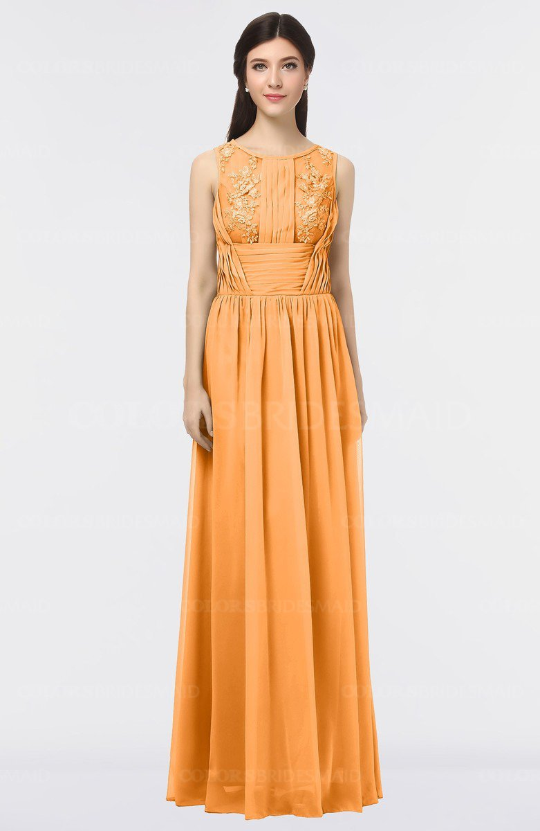 Colsbm Beverly Orange Gorgeous Scoop Sleeveless Zip Up Floor Length Lace Bridesmaid Dresses