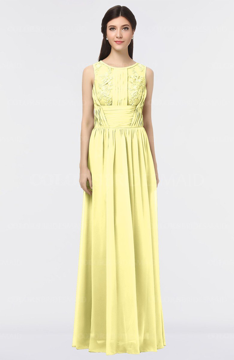 62f855d100c ColsBM Beverly Pastel Yellow Gorgeous Scoop Sleeveless Zip Up Floor Length  Lace Bridesmaid Dresses