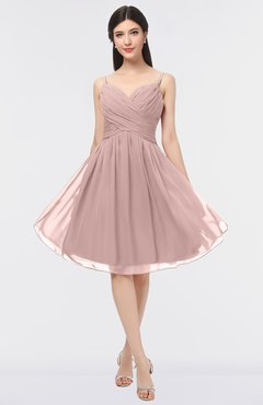 ColsBM Alisha Blush Pink Sexy A-line Sleeveless Zip up Knee Length Ruching Bridesmaid Dresses