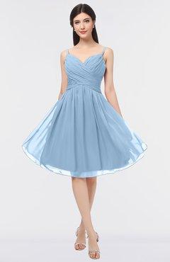 8504c1401bc ColsBM Alisha Dusty Blue Sexy A-line Sleeveless Zip up Knee Length Ruching  Bridesmaid Dresses