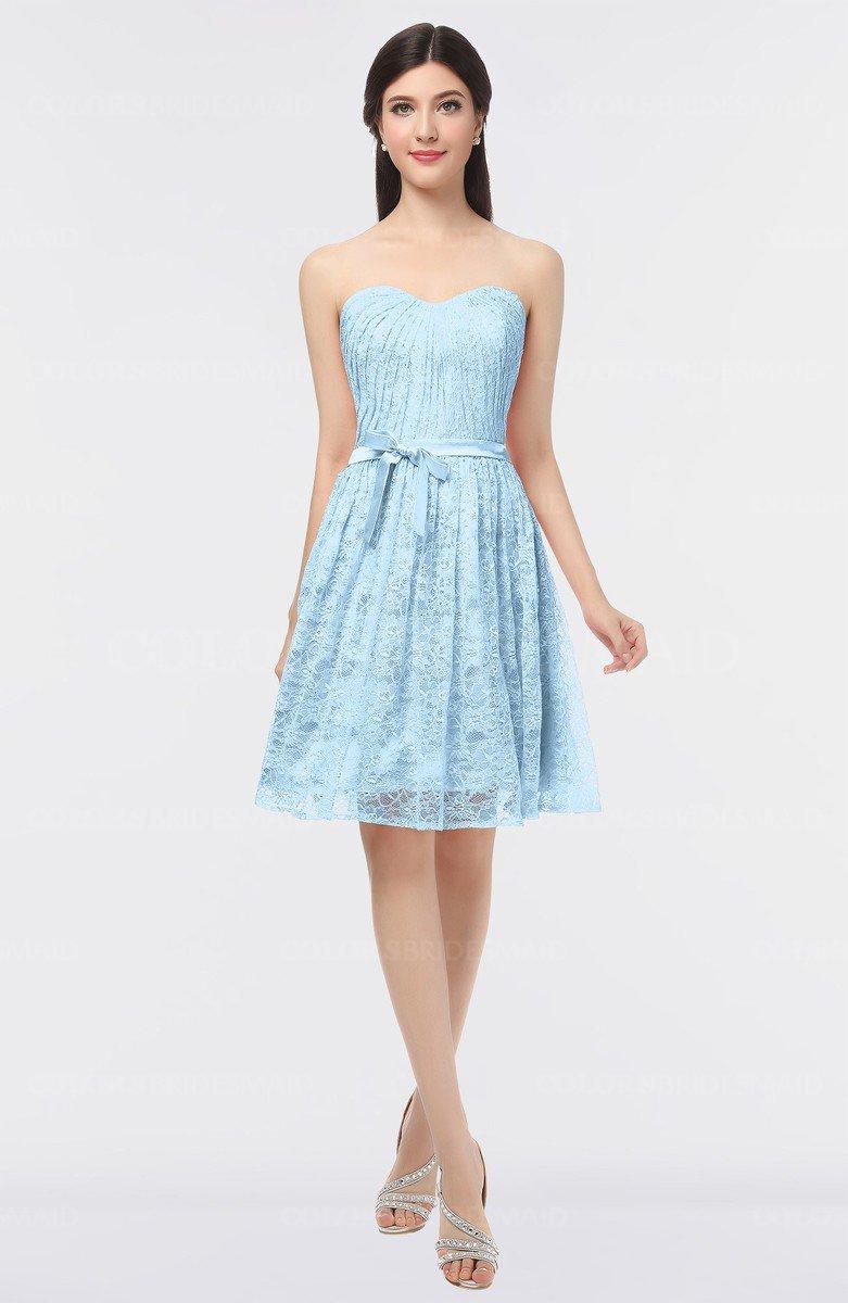 363cecc40f7 ColsBM Alaya Ice Blue Sexy A-line Strapless Sleeveless Zip up Bow Sweet 16  Dresses